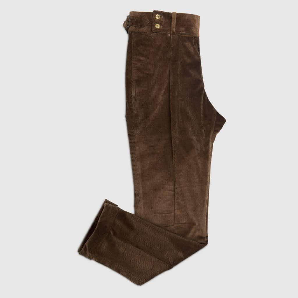 One Pleat Brown Corduroy Trouser