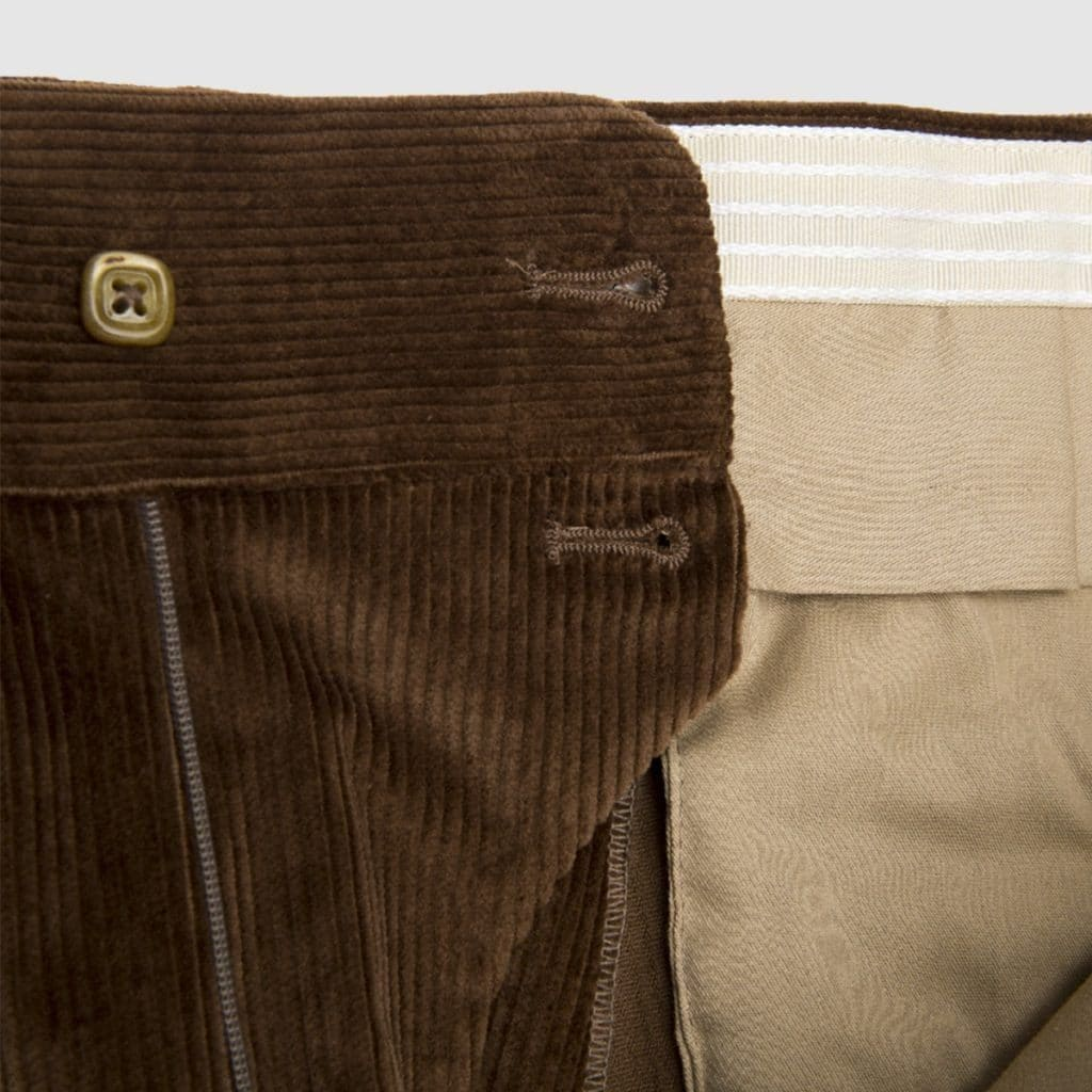 Pantalone una pences in velluto a coste marrone