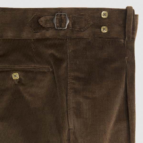 Pantalone una pences in velluto a coste marrone