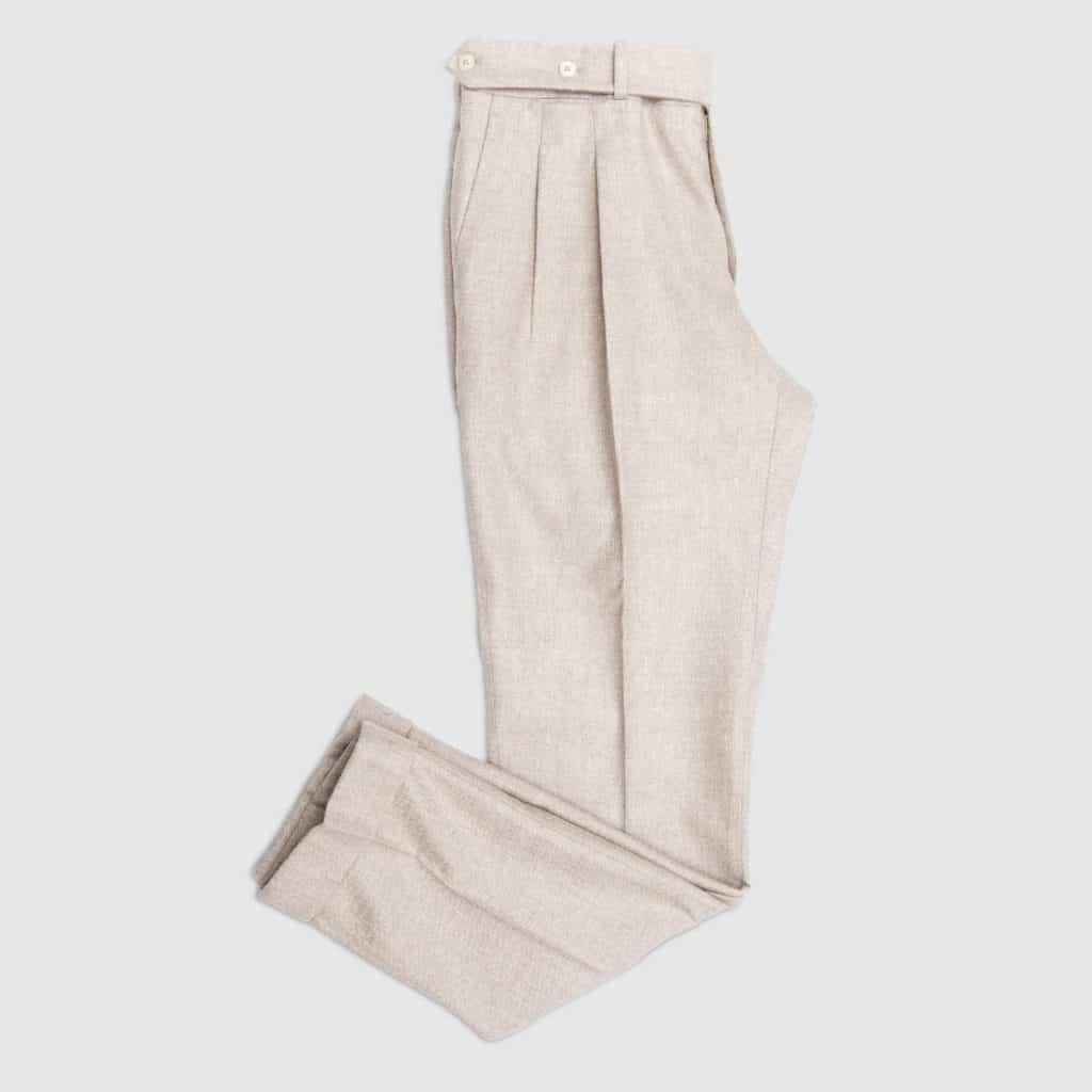Light Grey flannel Two pleats Trousers