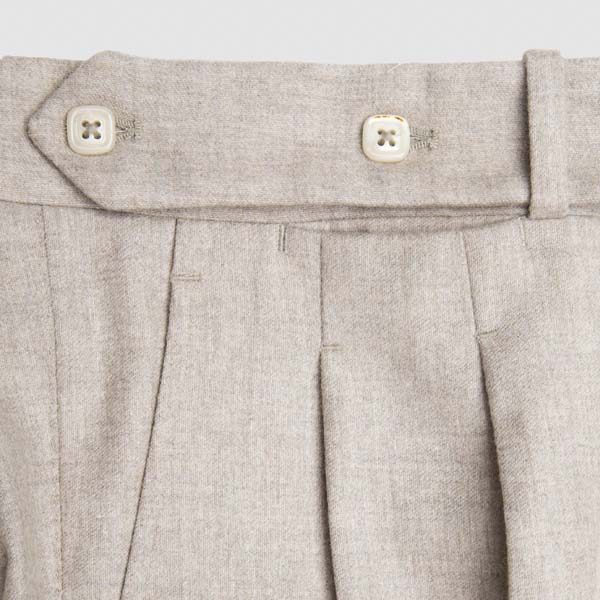 Light Grey flannel Two pleats Trousers
