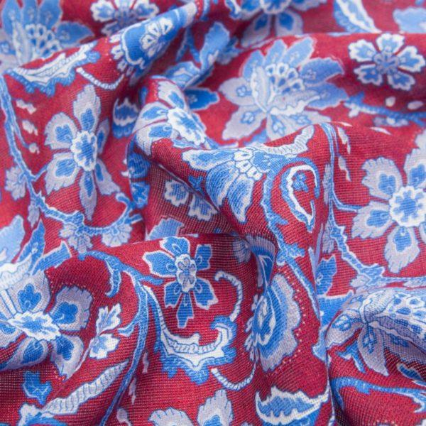 Sciarpa misto Lana Seta rossa con fantasie floreali