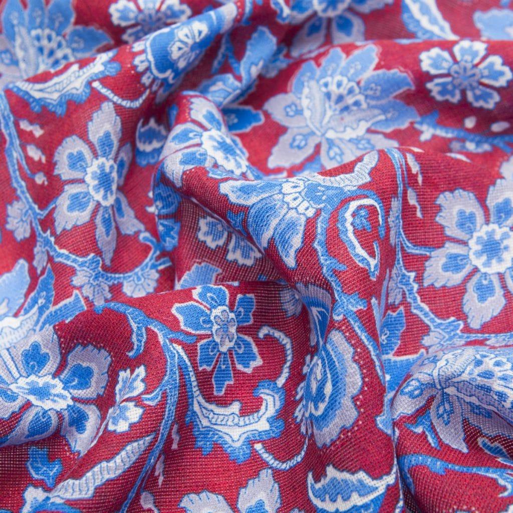 Red Floral Silk-Wool Scarf
