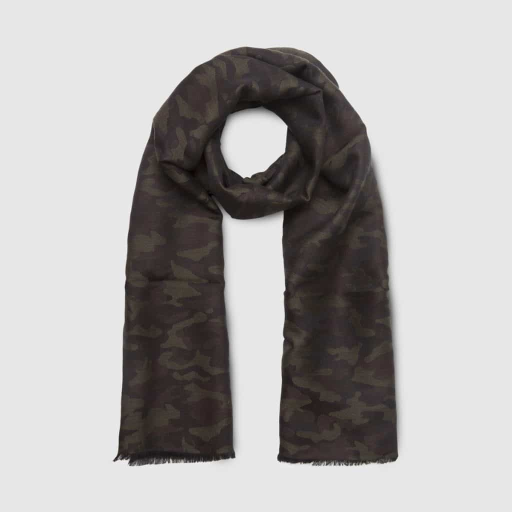 Gray Camouflage Wool and Silk Scarf