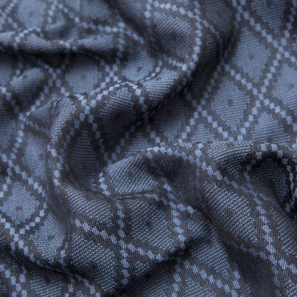 Sciarpa in Lana e Seta blu con pattern romboidali