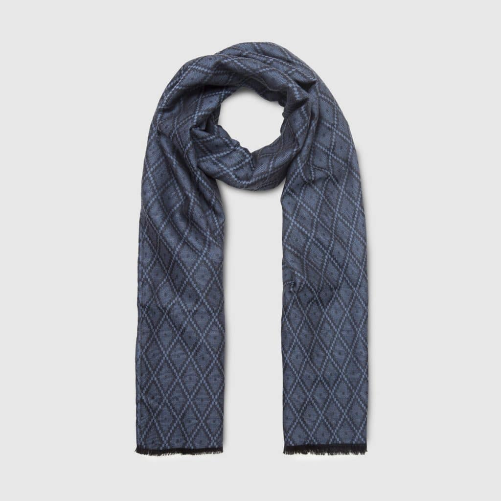 Blue Wool and Silk Scarf with Diamond pattern