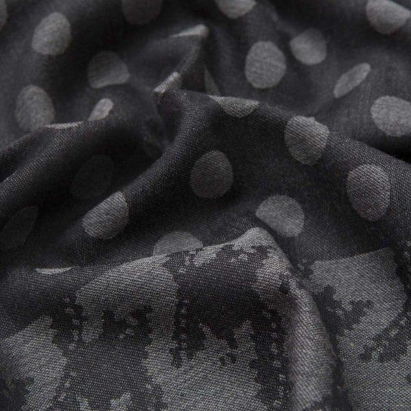 Sciarpa grigia con pattern pois in lana e seta