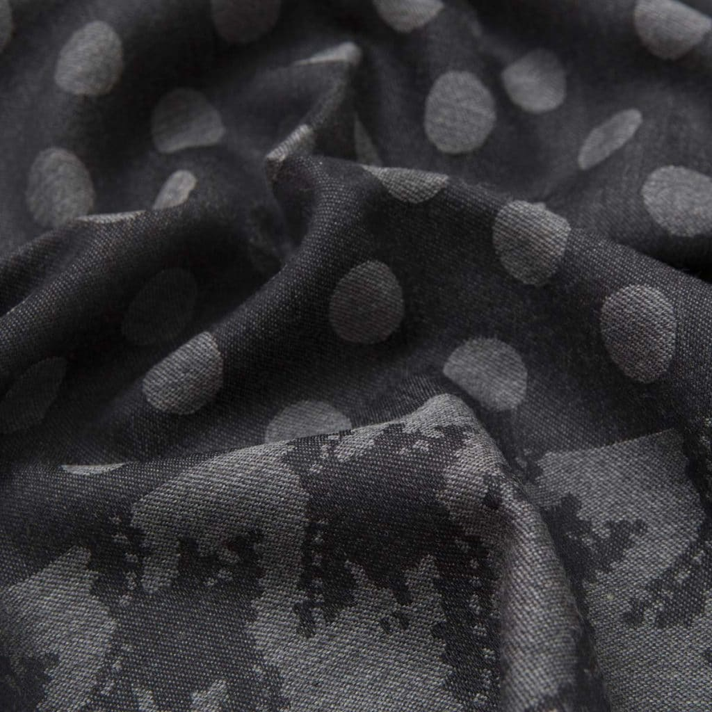 Gray Polka dots Wool and Silk Scarf
