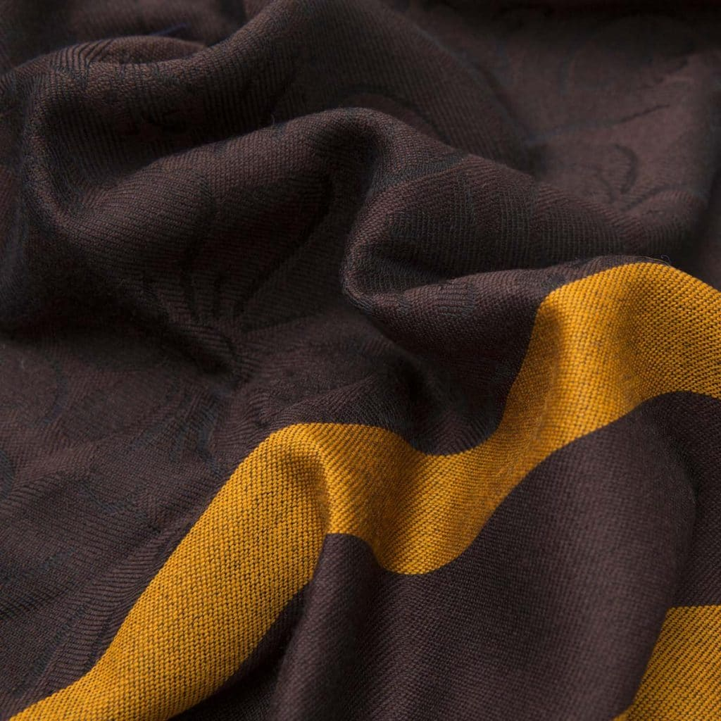 Chocolate Wool and Silk Scarf with yellow stripes