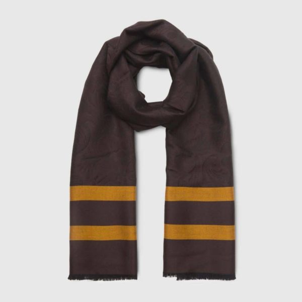 Chocolate Wool and Silk Scarfwith yellow stripes