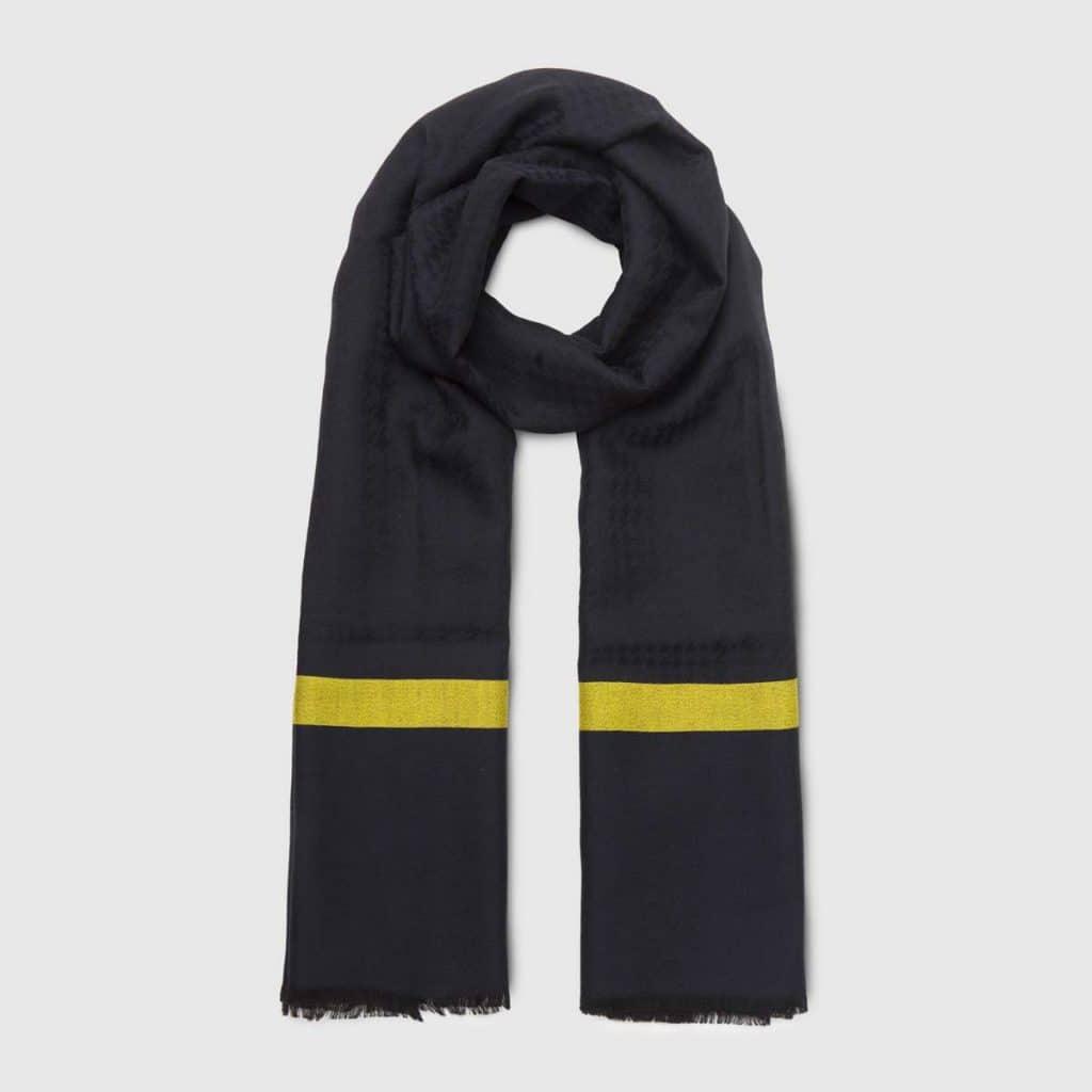 Striped Gray Wool & Silk Scarf
