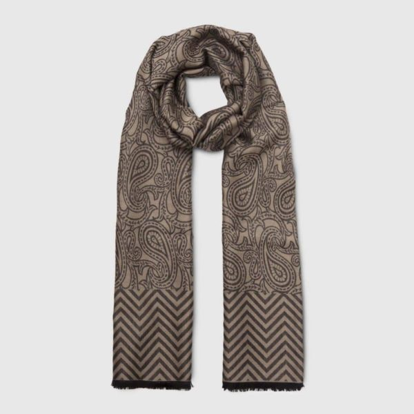 Gray Wool Silk Scarf geometrical pattern