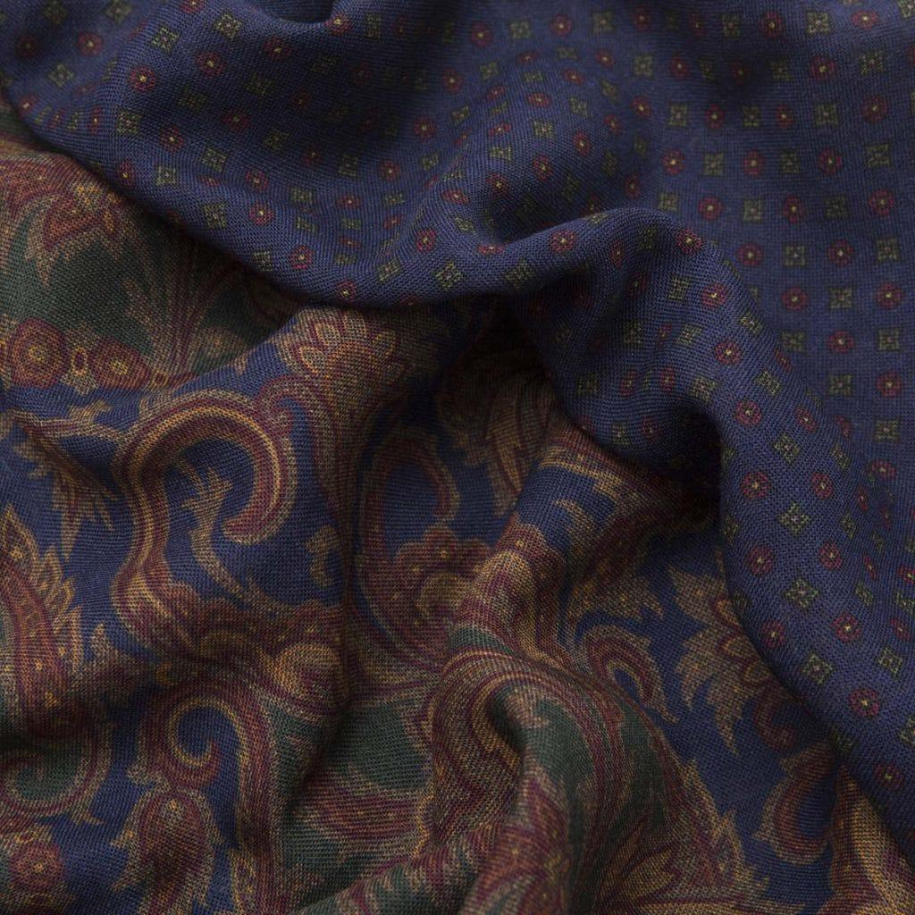 Sciarpa Tubolare Lana e Seta Blu