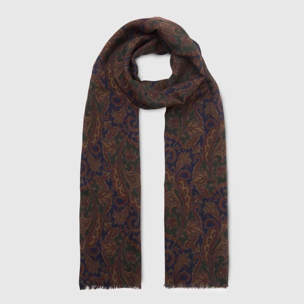 Blue Wool Silk Tubular Scarf