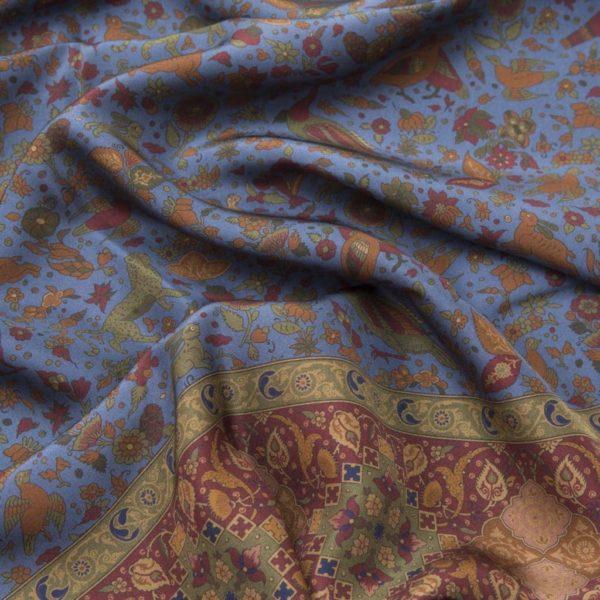 Blue 100% Habotai Silk Scarf