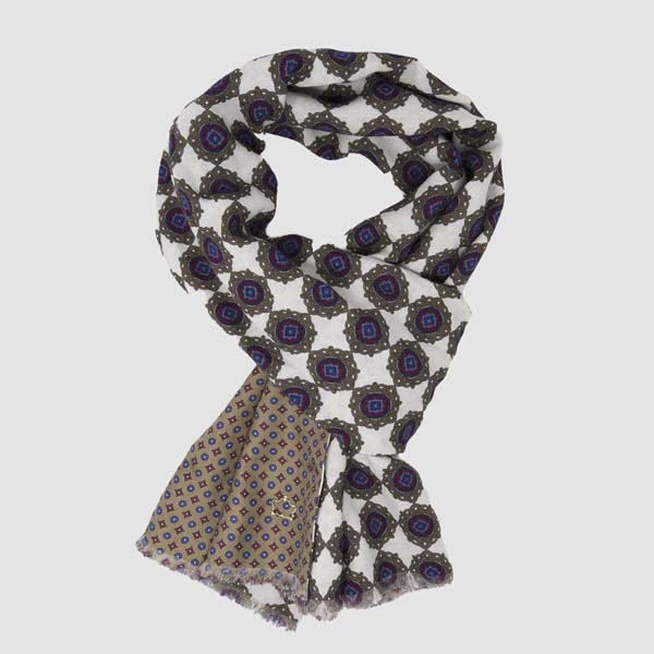 Maestrale White-Gold Wool & Silk Scarf