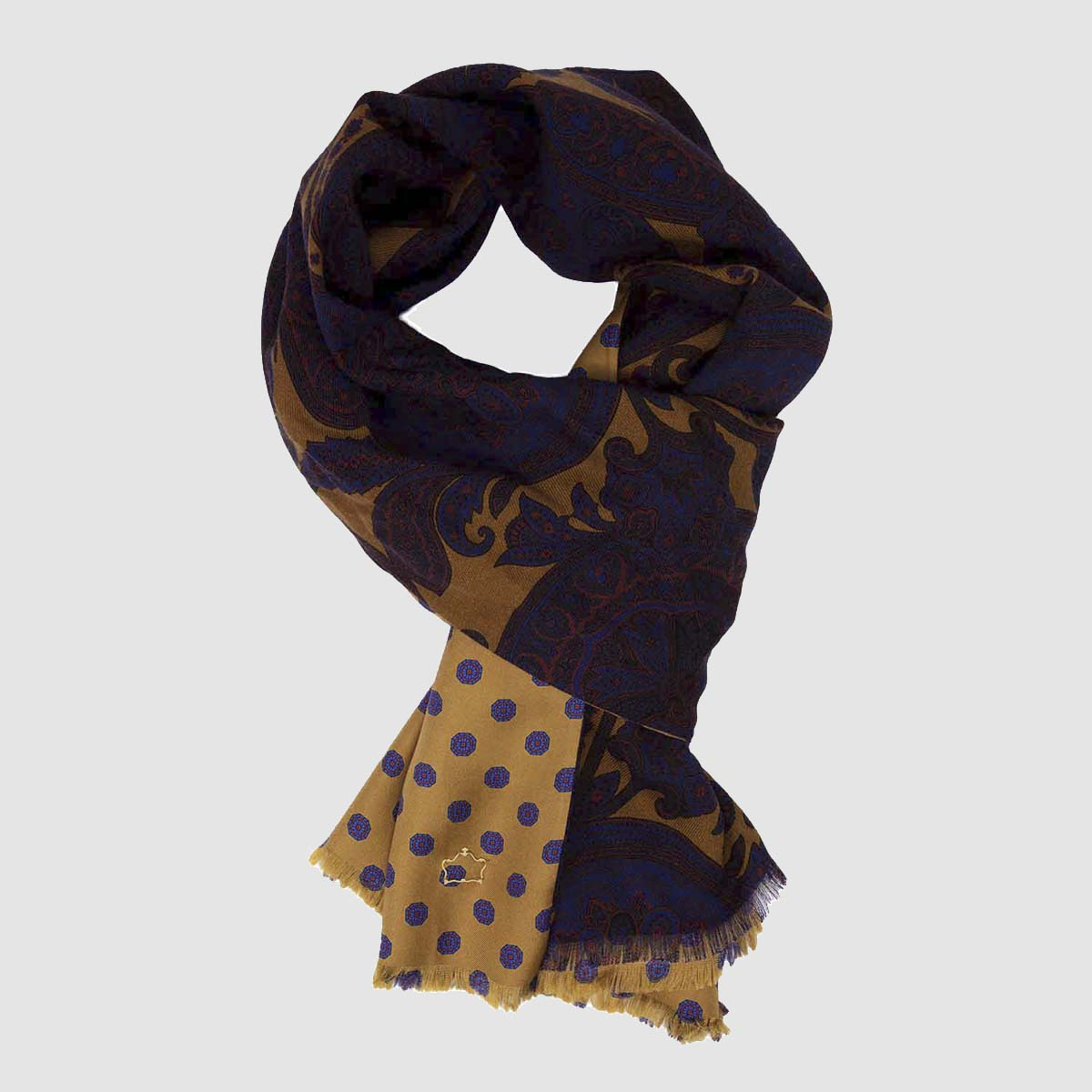 Gregale Kashmir patterned Wool & Silk Scarf