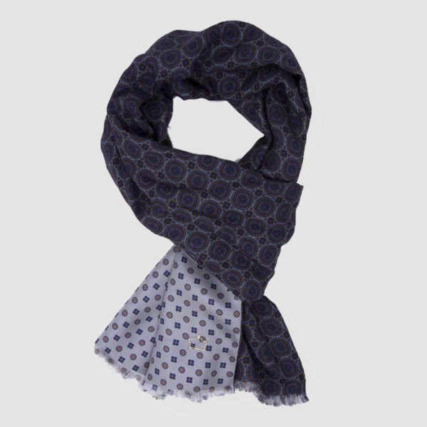 Blue Wool Scarf with Medallions and White Silk