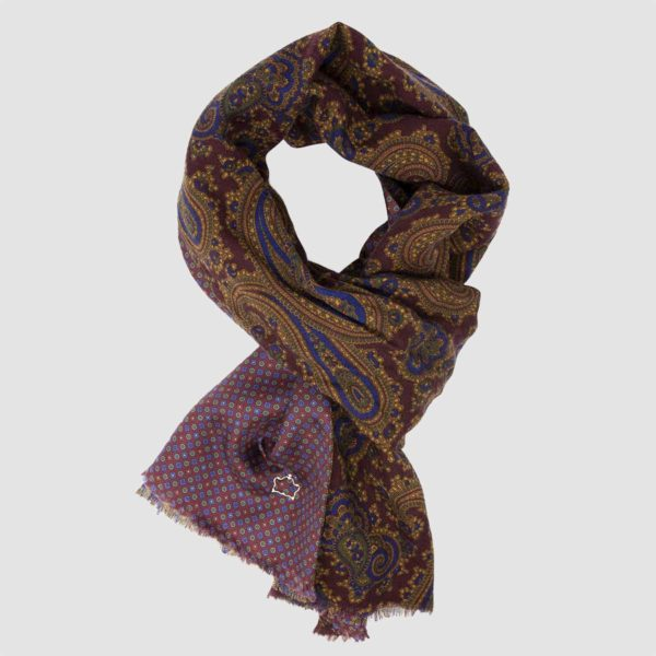Burgundy Wool Silk Kashmir patterned Scarf