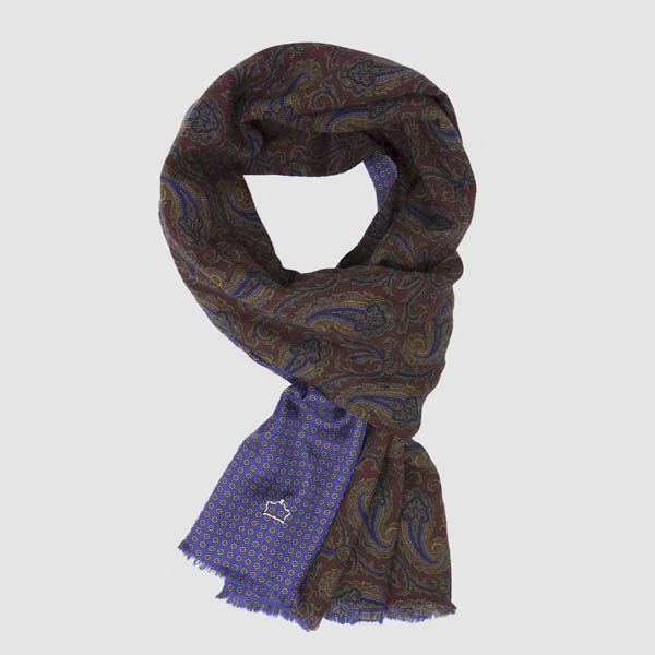 Burgundy Wool and Silk Scarf with Kashmir pattern