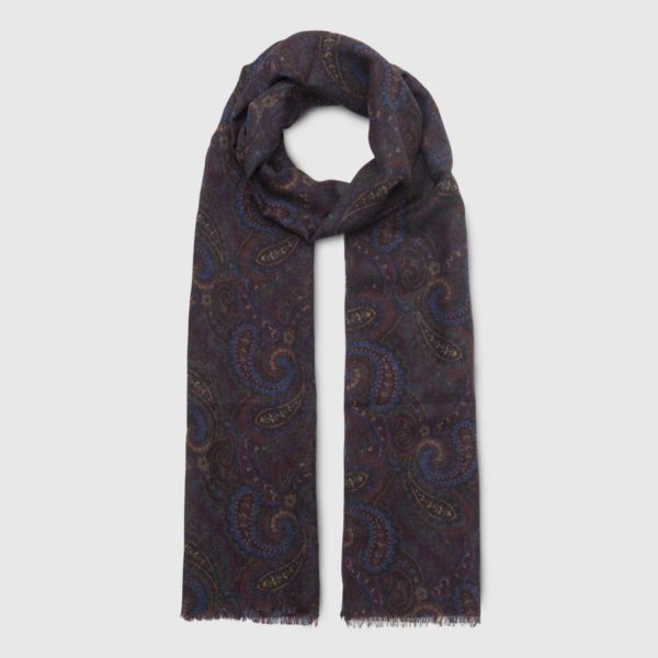 Wool Silk Tubular Scarf in aubergine and red colour
