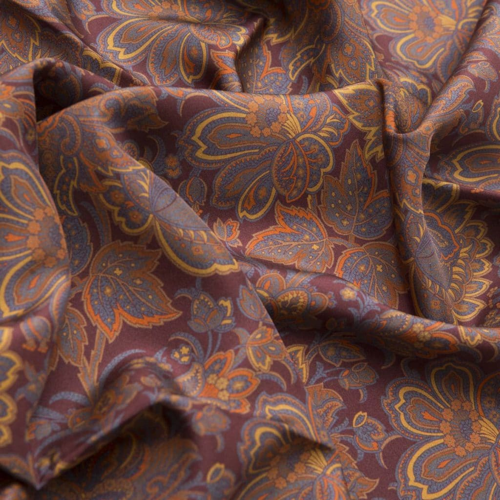 Brown 100% Habotai Silk Scarf with orange details