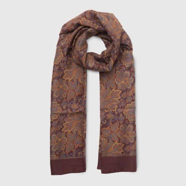 Brown 100% Habotai Silk Scarf with orange details