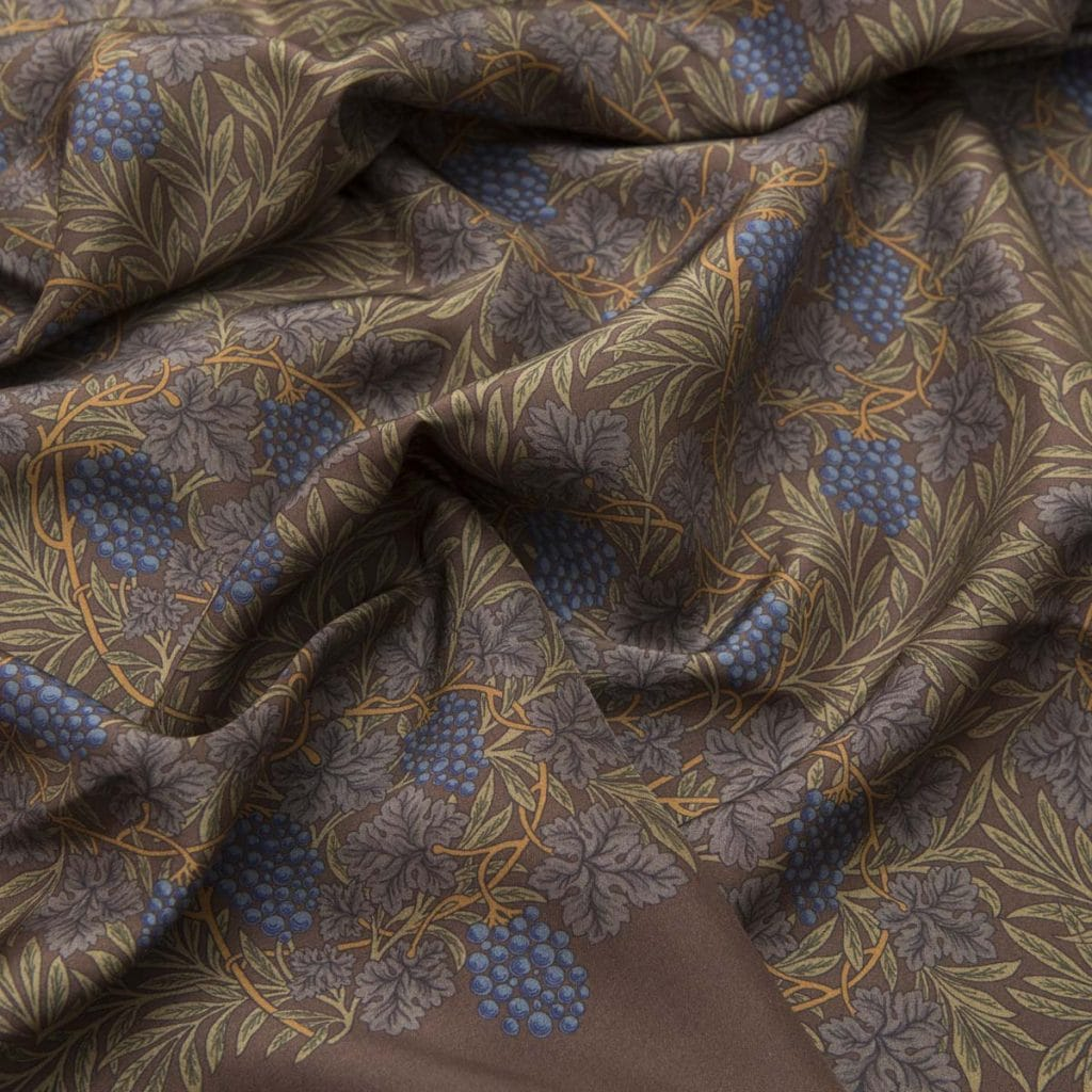 Brown 100% Habotai Silk Scarf with green details
