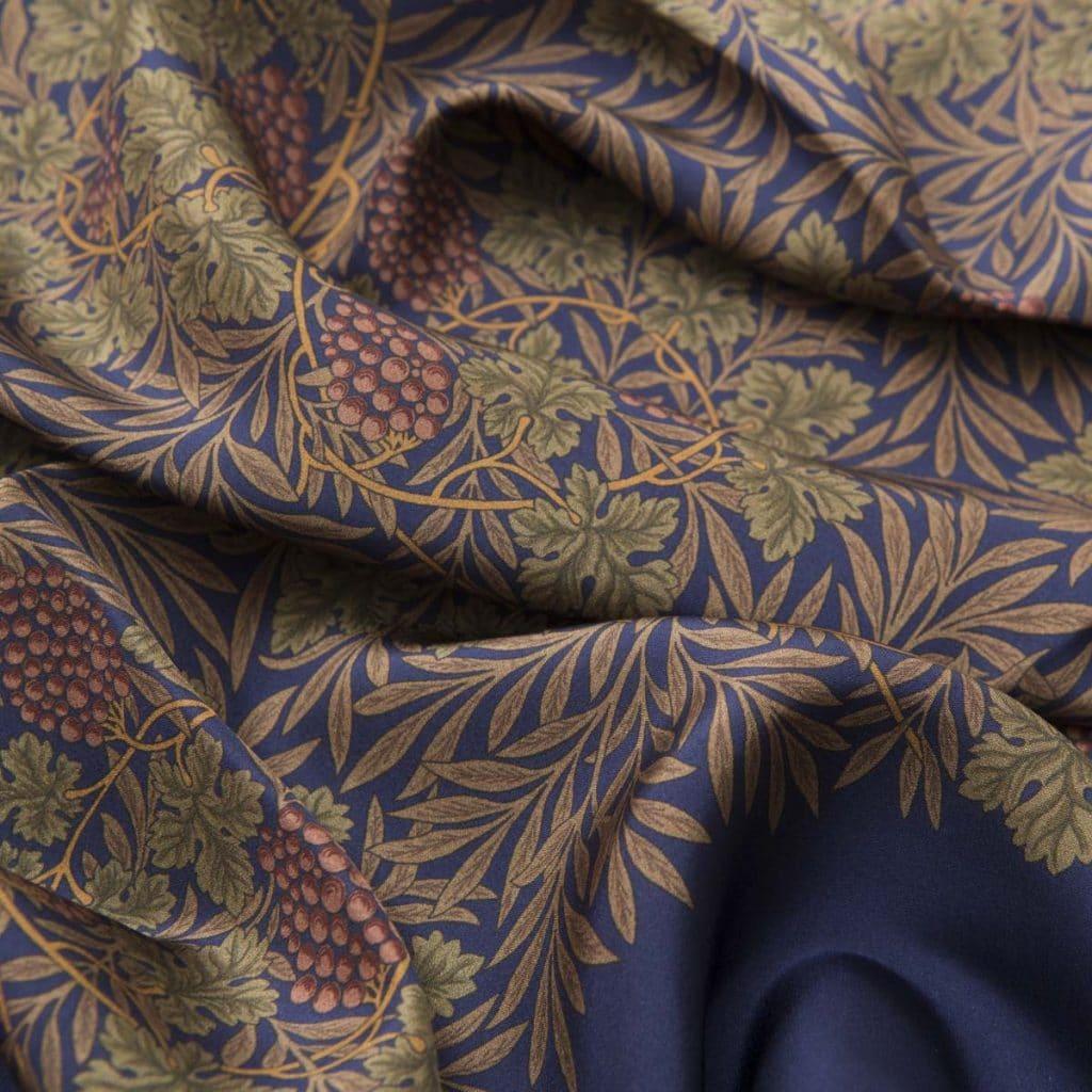 Brown 100% Habotai Silk Scarf with green details
