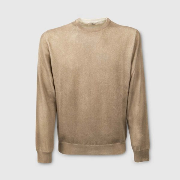 Beige airbrushed 100% Cashmere Sweater with a round neck
