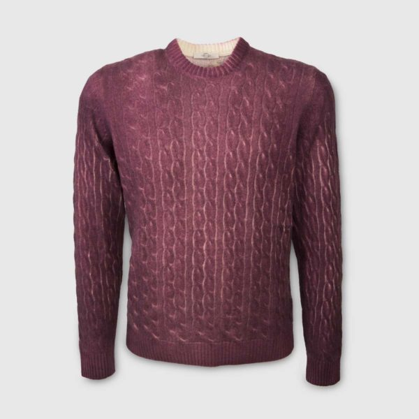 Burgundy cable-knit sweater