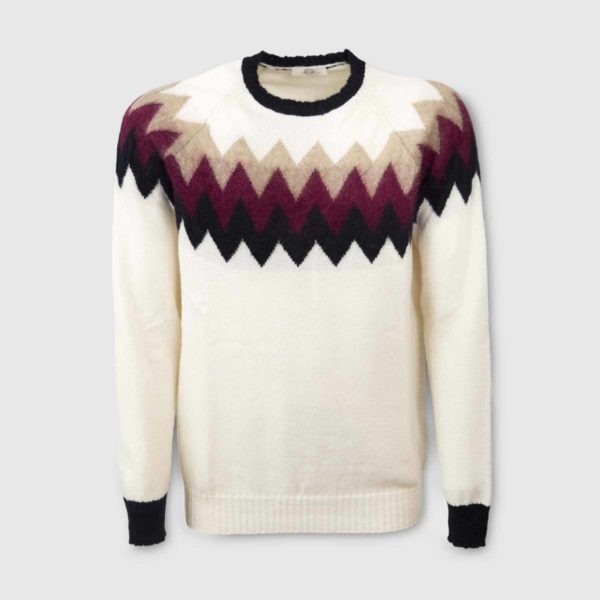 White Cashmere Sweater with patterns in super kid mohair e seta