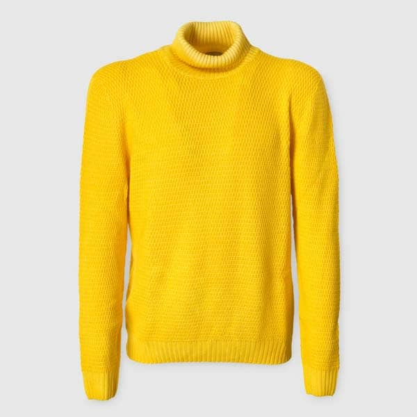 Yellow Merino Wool Rollneck Sweater