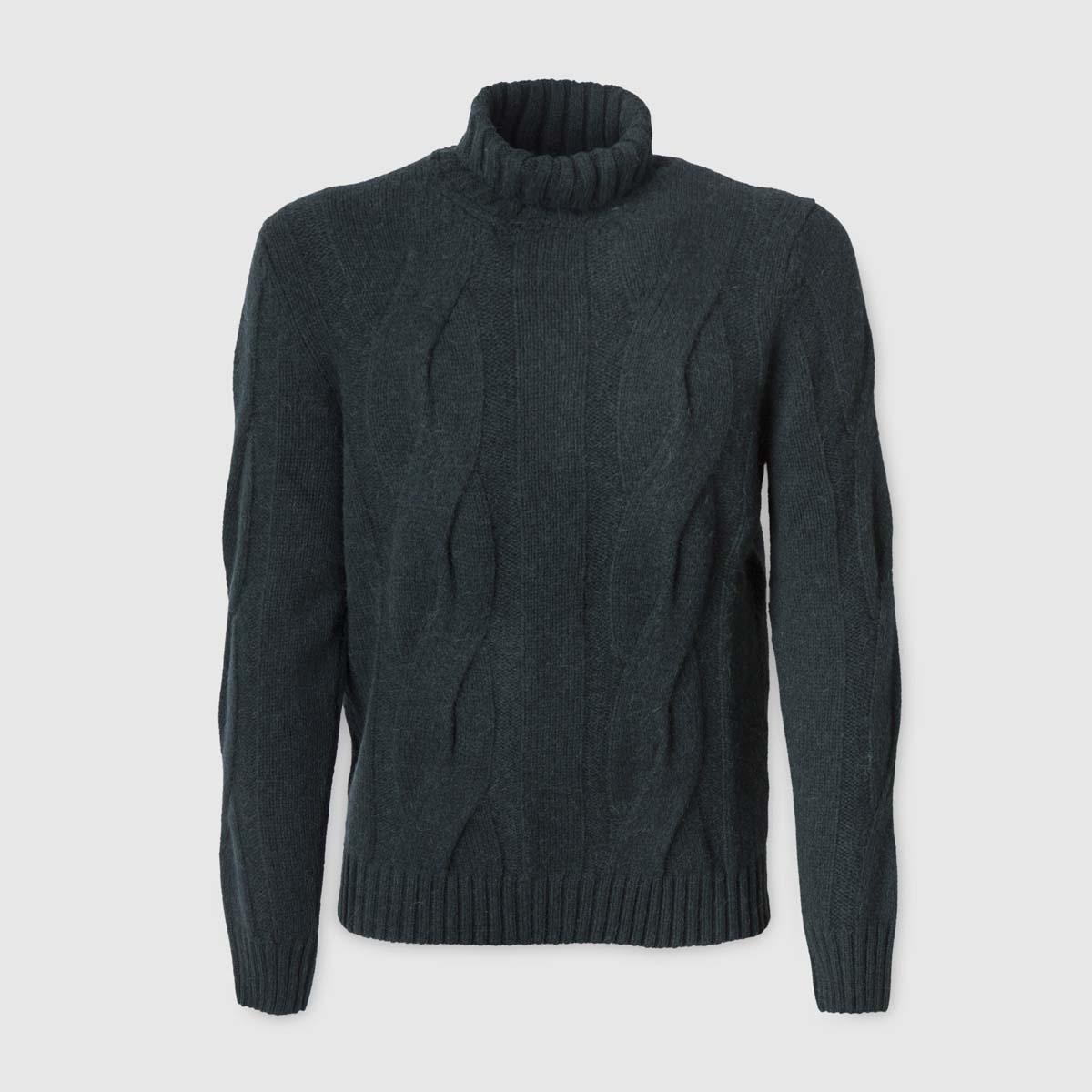 Maglione verdone in Alpaca e Mohair con treccia