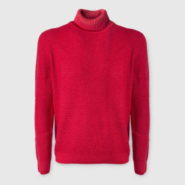 Coral Merino Wool Rollneck Sweater