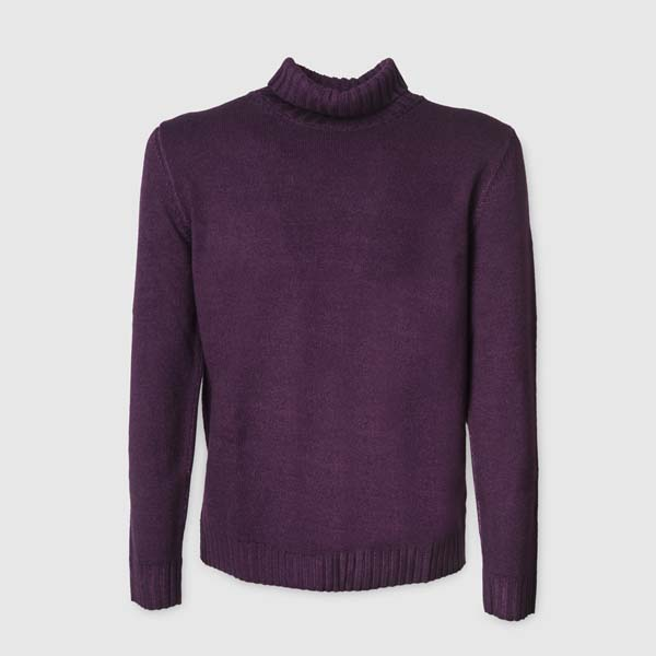 Purple Merino Wool Rollneck Sweater