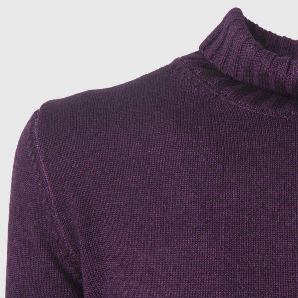 Maglione in Lana merinosViola con collo alto