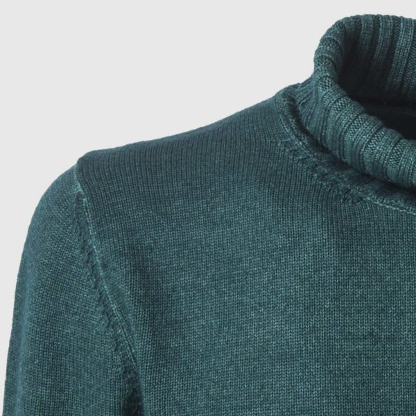 Green Merino Wool Rollneck Sweater