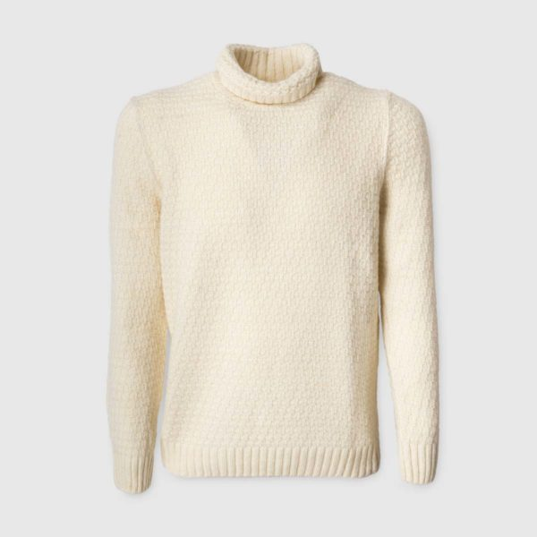 White cream Waffle-Knit Silk & Wool Sweater
