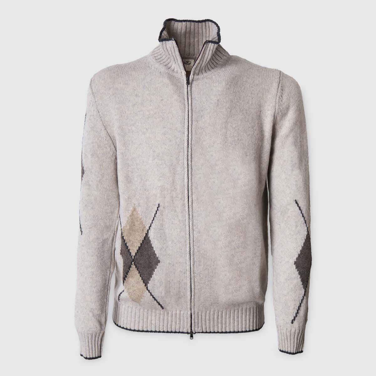 Maglione grigio full zip in Lana Mohair e Cammello