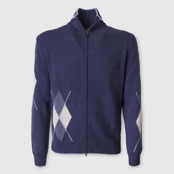 Blue Full-zip sweater in Mohair and Camel