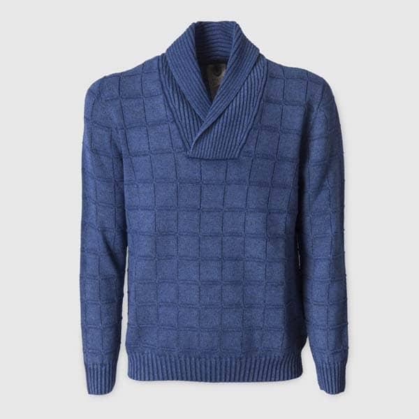 Maglione color Denim con collo sciallato in lana merinos extra