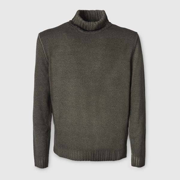 Olive Merino Wool Rollneck Sweater