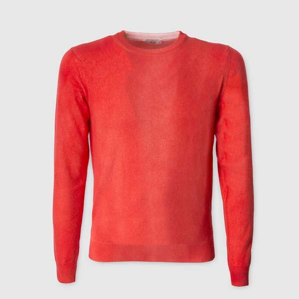 Maglione 100% Cashmere aerografato rosso