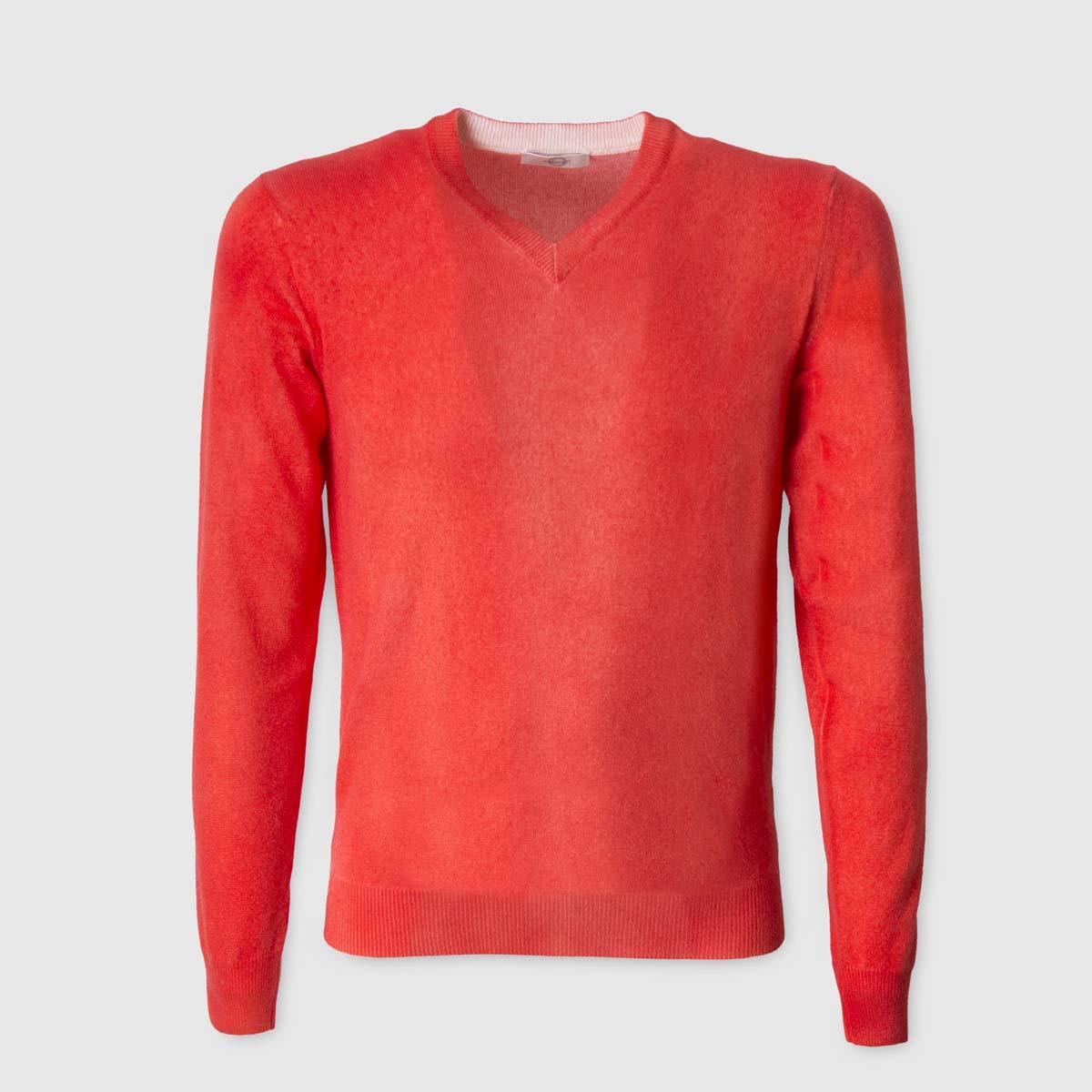 Maglione 100% Cashmere aerografato rosso collo a V