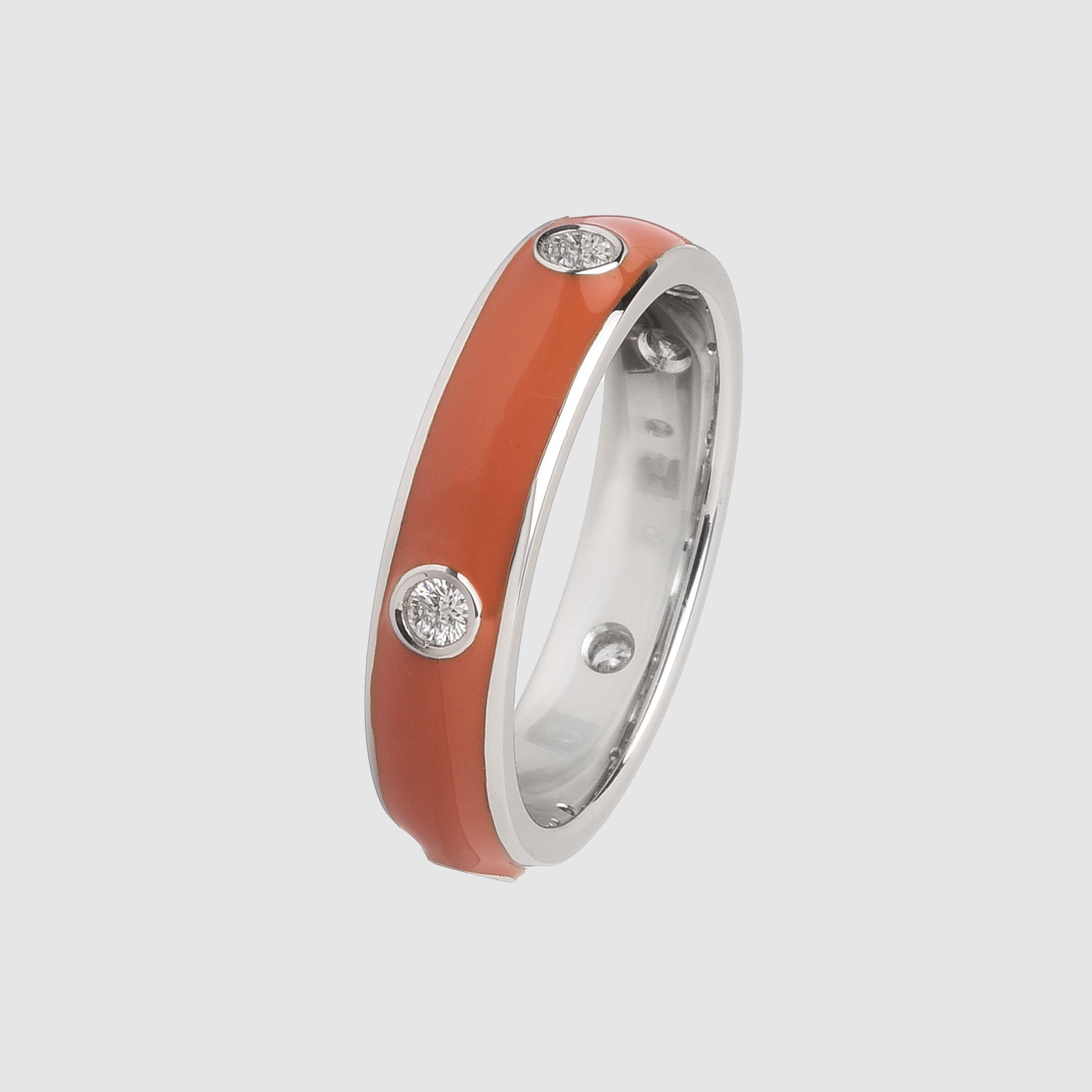 Orange enamelled ring in white gold and diamonds