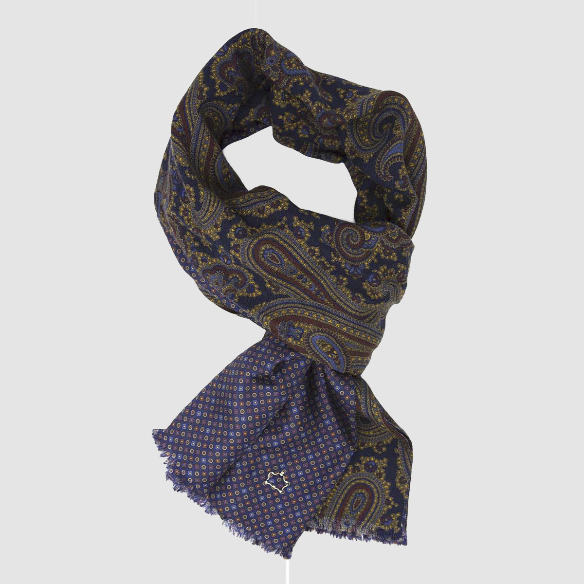 Blue Wool and Blue Silk Scarf with Kashmir pattern
