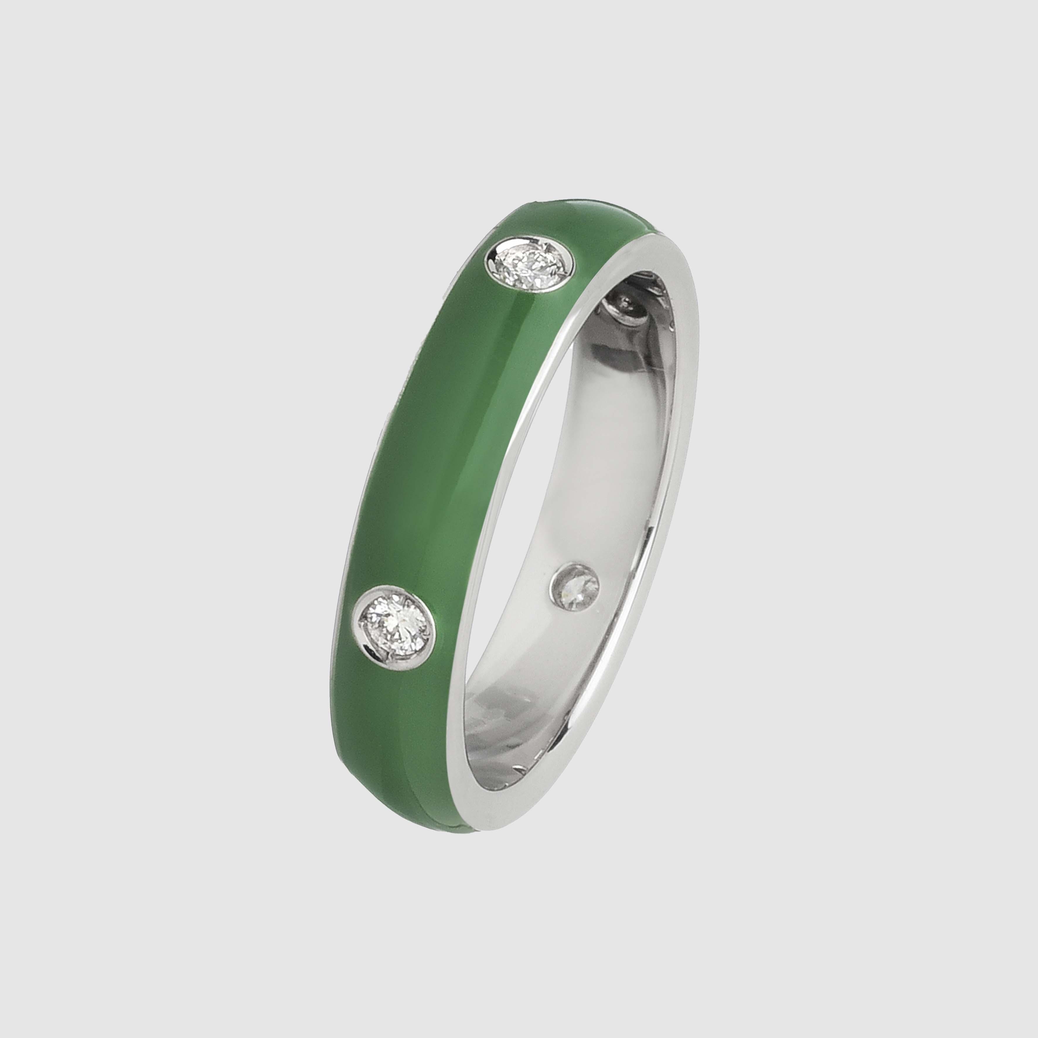 Fedina in Oro Bianco e Diamanti smaltata verde