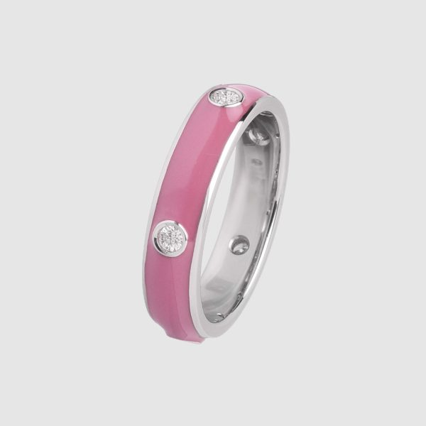 Pink enamelled ring in white gold and diamonds