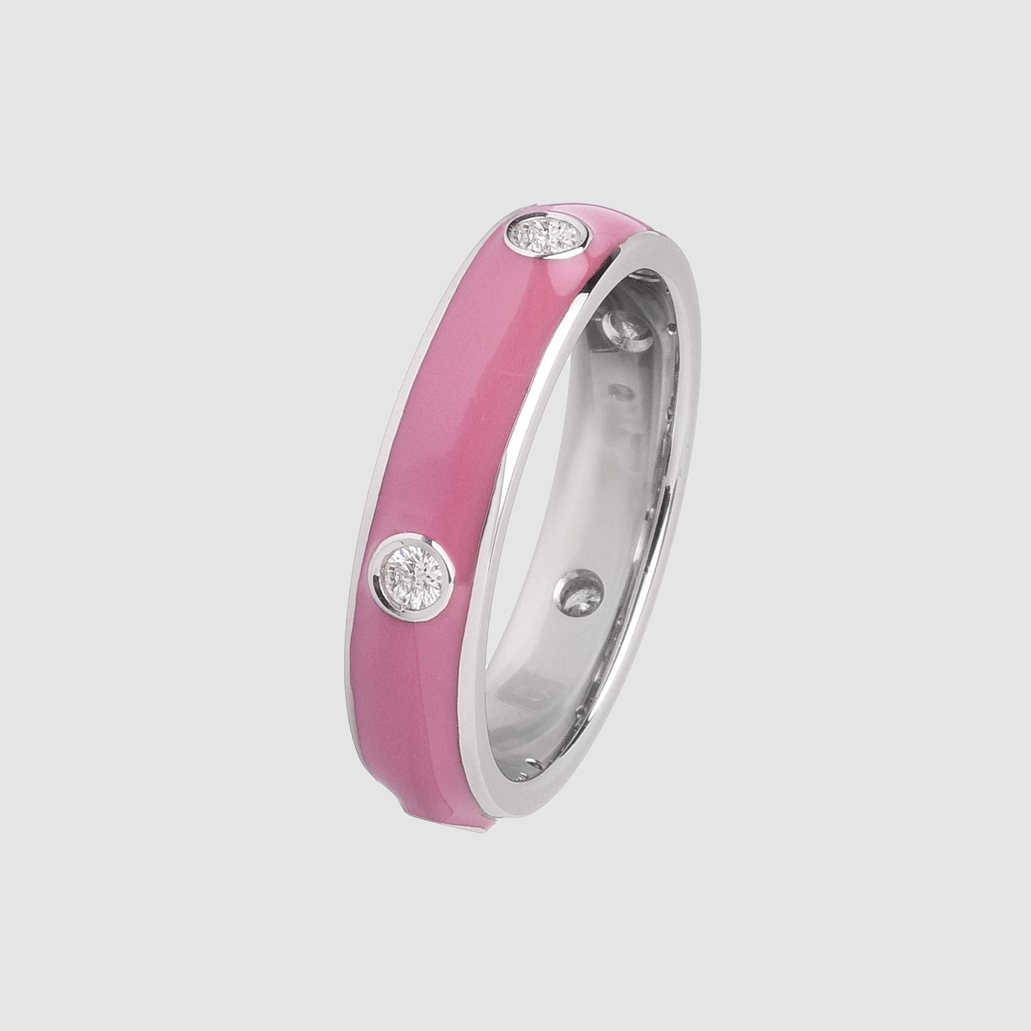 Fedina in Oro Bianco e Diamanti smaltata rosa